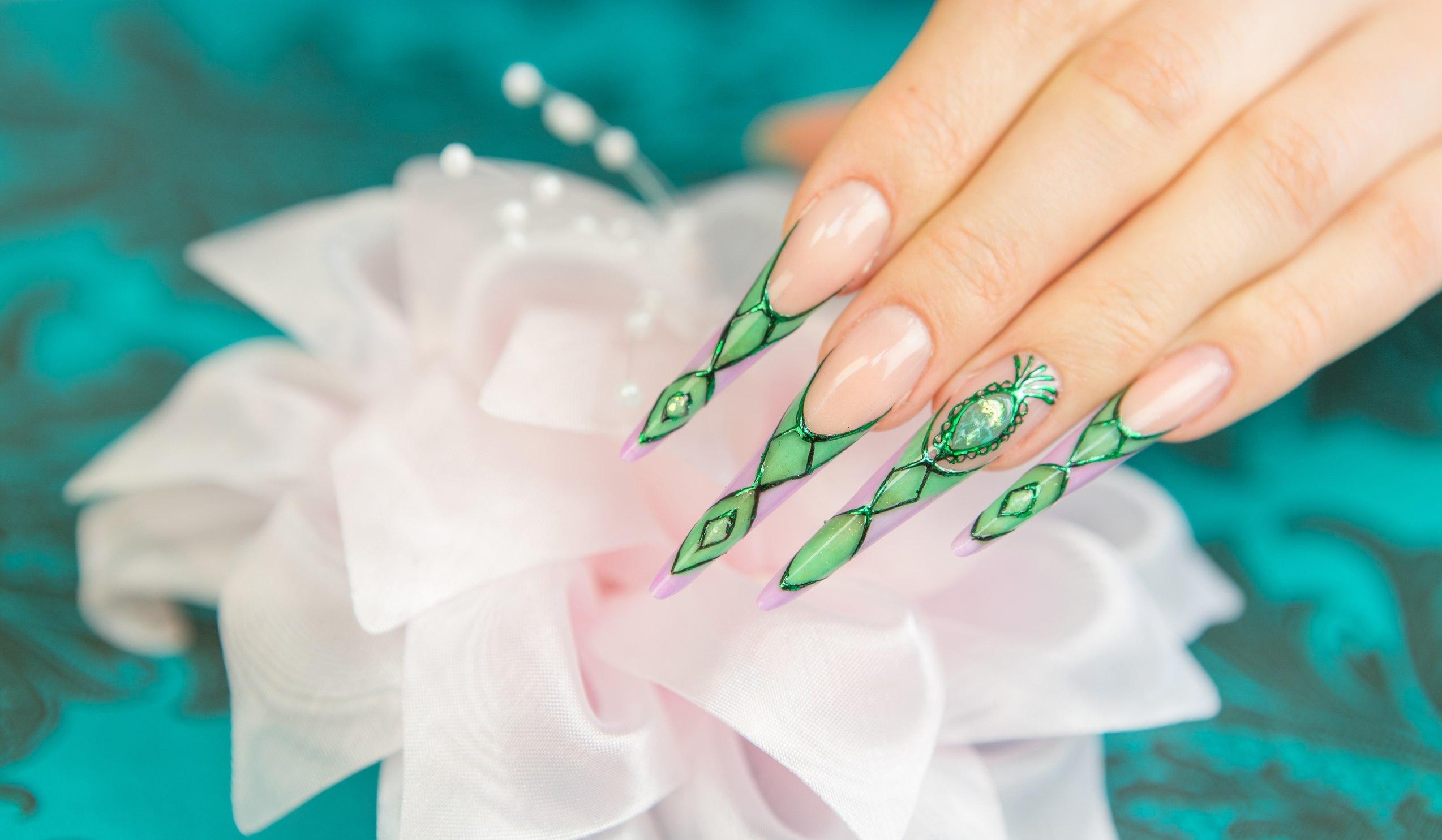 наращивание ногтей акрилом, дизайн, покрытие